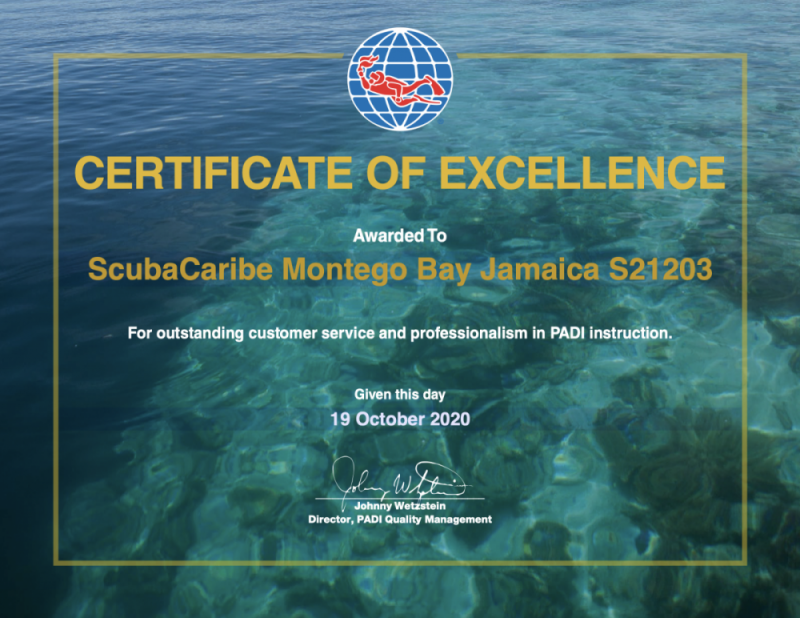 PADI Certificate of Excellence ScubaCaribe Montego Bay